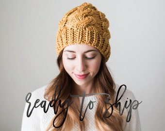 Cable Knit Hat Ready To Ship Hand Knit Handmade Adult Teen Beanie