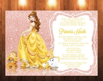 Belle With Mrs Potts And Shimmer Glitter Pink Background Invitation Beauty The Beast