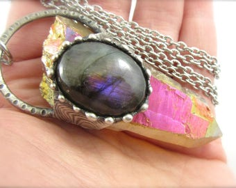 pele - purple labradorite & large sunset aura quartz crystal pendant