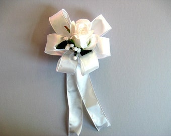 Wedding bow for brides, Gift wrap bow, All white wedding gift bow, Bridal shower bow, Bridal shower decoration, Bow for presents (W138)