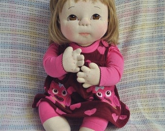 """Fretta's life size 23"""" / 58 cm Soft Sculpture Baby. Weighted reaistic looking Empathy Doll. OOAK Textile Baby Doll, Child Safe Cloth Doll"""