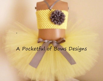 Yellow and SilverTutu Skirt with Matching Top with Silver Flower