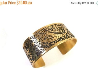 Brass Paisley Bracelet, Paisley Jewelry, Paisley Cuff, Bracelet Cuff, Brass Bracelet, Handmade Brass Cuff, Ready to Ship, Unique Gift