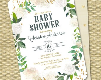Baby Shower Invitation Printable Baby Shower Invite White Gold Cream Gold Glitter White Roses Floral Baby Sprinkle  ANY EVENT