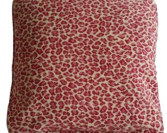 Red and Tan Leopard Grospoint Pillow Cover (B1)
