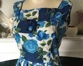 50s Blue Rose Cotton Summer Dress