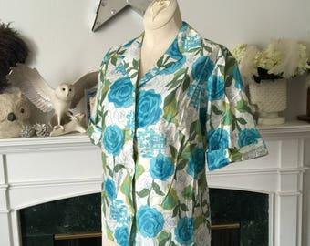 Blue Rose Cotton 50s 60s Camp Shirt