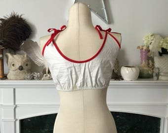 50s Cotton Red Piped White Sun Top