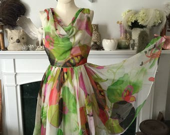 60s Jack Bryan Summer Floral Chiffon Dress
