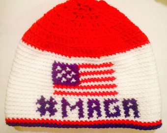 "Crochet ""Make America Great Again"" beanie hat"