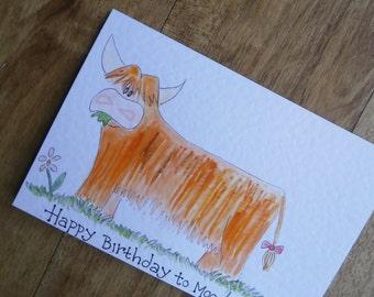 Highland Cow Birthday card. Happy Birthday to Moo.Individually made with original illustration