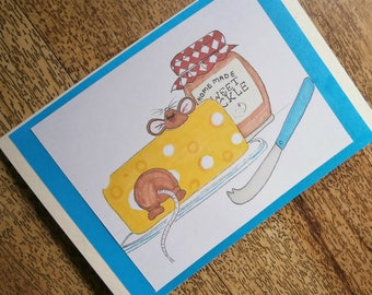Mouse card. Individually handmade greetings card featuring a mouse print taken from an original illustration. Suitable for any occasion.