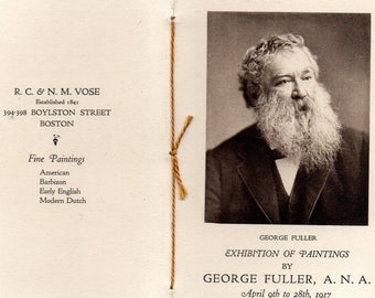Antique George Fuller Art Opening Boston, Mass. 1917 At R.C. & N.M. Gallery Boston w/Bio, Sample of Artwork MORE!
