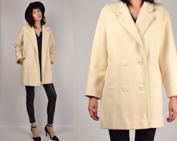 Cream Wool Peacoat vintage minimalist winter jacket