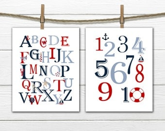 Nautical Nursery - Nautical Alphabet & Numbers Set - 8x10 - Instant Download