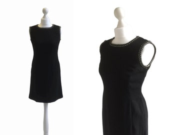 60's Mini Dress - Black And Silver Vintage 1960's Dress - Black Crepe Cocktail Dress - LBD Minidress - Little Black Dress