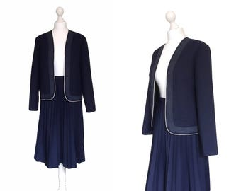 RESERVED / SOLD 1970's Two Piece Suit - Woman's 70's Suit - Vintage Suit - Navy Blue Edge to Edge Jacket And Pleated Skirt