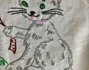 Super cute handmade vintage embroirdered cat kitten dresser scarf small table runner