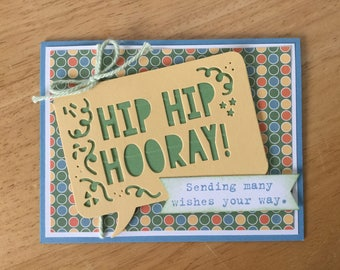 Stampin Up handmade Happy Birthday card - Hip Hip Hooray , sending wishes