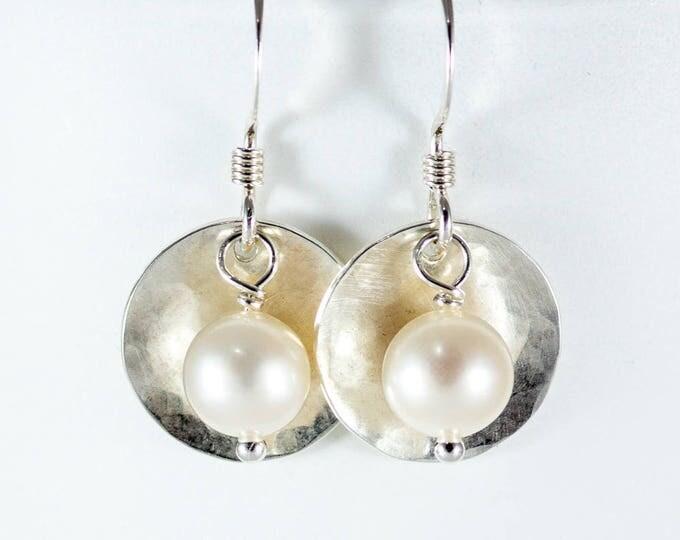 1/2 inch Bead & Disc Sterling Silver Earrings