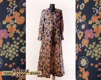 Black Floral 60s 70s maxi dress Finnish vintage by Kati Myynti oy / Sheer Hostess Party dress  / Hippie Boho maxi dress / size