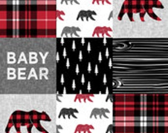 Baby Bear Patchwork Minky Blanket or Quilt