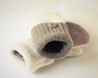 Children's - Small - Felted Wool Mittens - Brown/Latte - Wool Mittens - Felted Wool Sweater Mittens