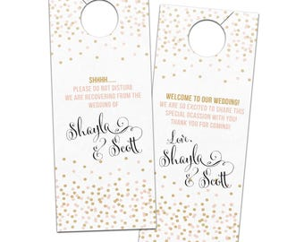 Fun, modern, calligraphy script confetti door hanger for guests or welcome bags - wedding bridal hotel do not disturb privacy door sign