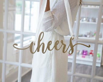 Cheers sign wood wedding decor wooden laser cut photography props