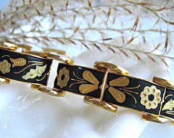 Damascene Links Bracelet, Butterfly Flower Leaf Etched Gold on Black, Eight Panels Oriental Design, Longer Length