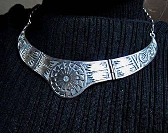 Navajo Sterling Choker, Native American Hinged Jointed Bib, Southwestern Tribal Collar, Deep Scored Pattern, Signed R S, Roger Skeet Jr.