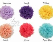 Shabby Chic Petti Flowers - Lace and Chiffon Flowers - Baby Headband Supplies - Lavender, Purple, Yellow, Peach, Coral, Aqua Blue AND IVORY!