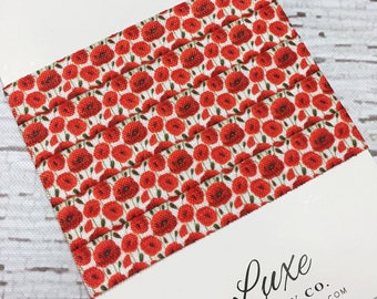 "Poppy Flowers - Red Poppies 5/8"" Wide Print FOE - Elastic by the Yard - DIY Headbands, Hair Ties, Favors - 2017 Limited Edition"