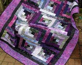 Lap Quilt, Sofa Quilt, Quilted Throw - Urbana Log Cabin - Purple and Gray Log Cabin Batik Quilt