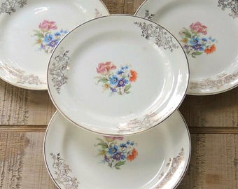 Vintage Homer Laughlin Eggshell Nautilus Small Plates, Set of 4, Tea Parties, Cottage Style, Weddings, Bread and Butter Plates, L44 N5