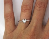 Heart ring -silver ring - Skinny silver ring ''Heart'' Stacking ring - jewelry - friendship ring - 925 - unusual - delicate - gift - present