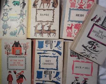 Junior Deluxe Editions Children's Books 1956 // Vintage Hardcover Books // Bambi //  Heidi // Little Lame Prince //