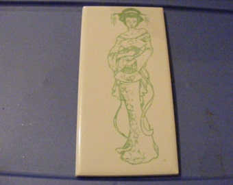 """Laser engraved 3"""" x 6"""" ceramic tile Geisha Plaque with display stand"""