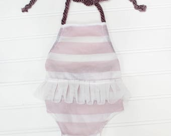 Lilac's and Tutu's - newborn halter style romper in a dusty purple lilac and white stripe knit with faux tutu (RTS)