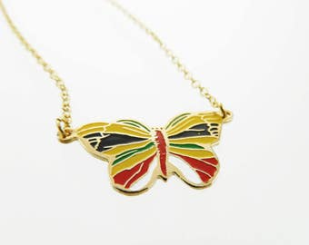 18k Gold Filled Butterfly Necklace - Yellow, Red, Green and White