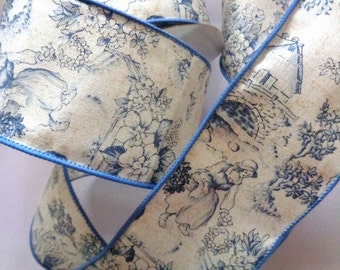 "Wide Toile Wired Ribbon, Blue, 2 1/2"" inch wide, 1 yard, For Home Decor, Gift Baskets, Victorian & Romantic Crafts"