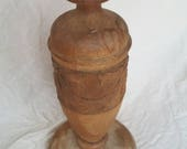 Reserved for Jennifer , Hand carved lamp base , hand turned lamp base , vintage wood lamp base , lamp base for upcycling