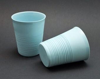 Mint green porcelain mug, contemporary ceramics, modern mug, mint green porcelain mug, ripped mug, coffee mug