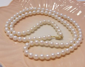 Faux White Pearl Necklace 30 Inches Long