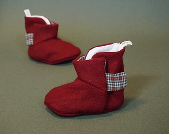 Oppi Baby Boots - Red tartan toes boots