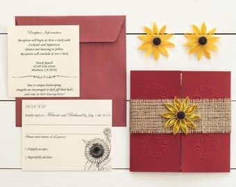 20% OFF Sunflower and burgundy wedding invitation Sunflowera nd burlap invitation Barn wedding invitation Fall sunflower wedding invitation