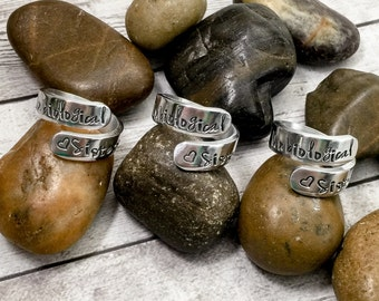Unbiological Sisters Rings - Best Friend Rings - Matching Friendship Rings - Bridesmaid Gifts - Bridesmaid Rings - Greek Sisters Step Sister