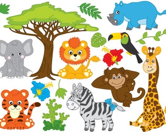 50% OFF SALE Jungle Animals Clipart - Digital Vector Safari Animals, African, Jungle Animals Clip Art