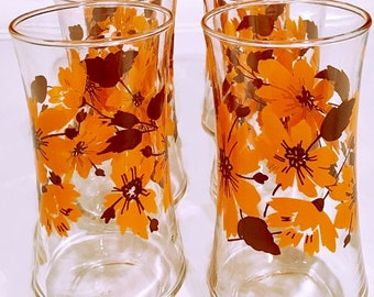 Vintage Water Glasses, orange floral glass tumblers, ice tea glasses, barware glassware, retro beverage set of 6