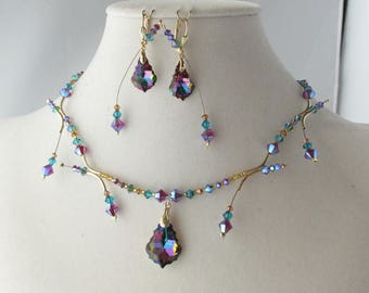 Crystal Electra Baroque and Floating Crystals Necklace & Earring Set